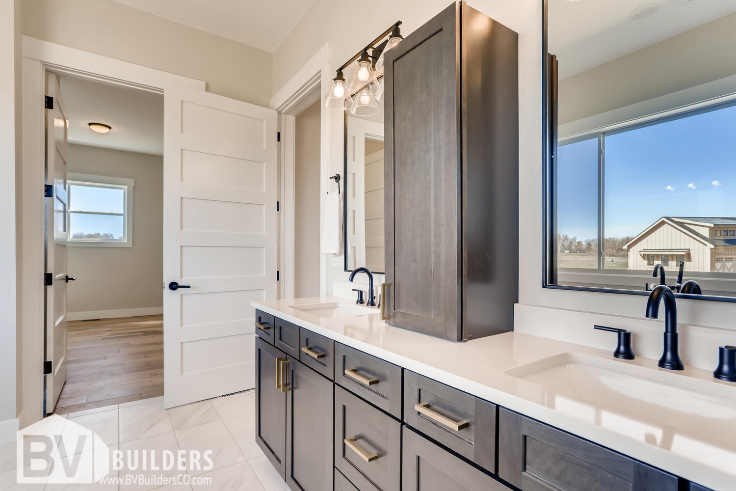 Modern farmhouse master bathroom with double vanity